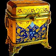 SALE Superb Cobalt & Gold Mini Bohemian Moser Mounted Box or Casket