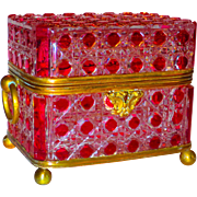 SALE Large Baccarat Cranberry Cut to Clear Bronze Mounted Box or Casket