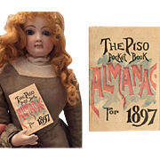 SALE PENDING Antique 1897 Mini Almanac for Your French Fashion Doll!