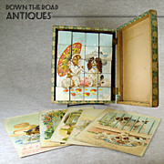 Victorian Chromolith Picture Puzzle Block Set - 1880's