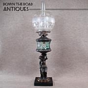 Figural Kerosene Lamp - Teal Cut to clear Fount - 1880's