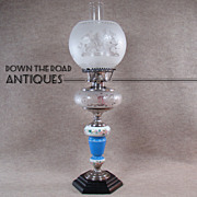 Hand Painted Glass Kerosene Lamp with Etched Fount - 1880's