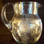 Blown Glass Water Pitcher with Applied Handle Etched with Musicians and Dancers - 1880's