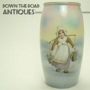 Hand Painted Royal Bayreuth Porcelain Vase with Dutch Girl & Bridge Scene - 1910
