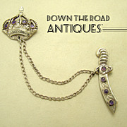 Taxco Sterling Brooch with Crown & Sword - Amethyst