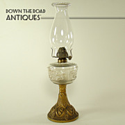 Ornate Iron and Glass Kerosene Stand Lamp