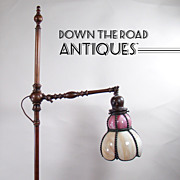 Fabulous Solid Bronze Claw-Footed Carmel Slag Floor Lamp - c.1920's