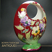 SOLD Hand Painted Open-Handle Basket Vase - 1920's