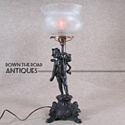 Gas Portable Table Lamp with Angel and Etched Crown Shade - 1880's