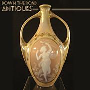 Pate-Sur-Pate Art Nouveau Two-Handled Vase (Female Figural Medallion)