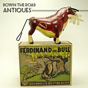 Marx Ferdinand The Bull Tin Wind-up Toy - Mint in Box