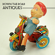 Tin and Celluloid Monkey on Tricycle Wind-up Toy Bell-Ringer - Near  Mint