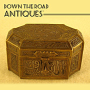 Bronze Inlaid Silver and Copper Octagonal Egyptian Jewel Casket  - 1880's