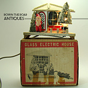 Glass and Celluloid Santa House Christmas Decoration - 1950s