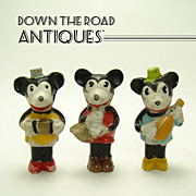 Bisque Walt Disney Mickey and Minnie Mouse Musician Figurines (Set  of Three) - 1930's