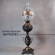 Ornate Banquet Lamp with Lion Heads and Gold Inlaid Egg-shaped Dragon Shade - 1880's ...