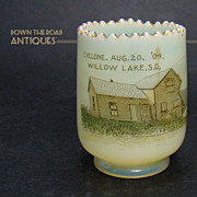 custard Glass Toothpick Holder - Great Cyclone of 1904 - (Rare)