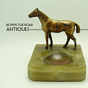 Onyx Dresser or Trinket Receiver with Horse Mount - 1910