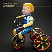 Tin Kiddie Tricyclist Wind-up Toy - Near Mint Condition