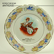 SOLD Porcelain Calendar Plate with Blue Birds and Girl Driving Automobile -  1920