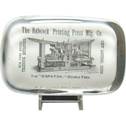 Milk Glass Advertising Paper Weight with Printing Press - Late 19th Century