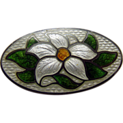 Sterling and Enamel Pin with Flower and Leaves - 1920's