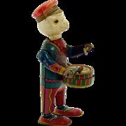 Pre-War Tin and Celluloid Bird Drummer Wind-up Toy - Near Mint