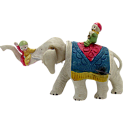 Pre-war Celluloid Elephant with Two Riders Wind-up Toy - Near Mint