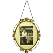 Gilt Brass Oval Picture Frame with Photo - Early 1900's