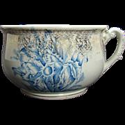 Porcelain Floral Chamber Pot - Blue, White, Gold  - 1890's