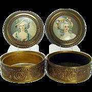 Brass/Bronze Portrait Vanity Boxes - Matching Set - 1930's