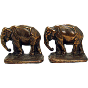 Cast Iron Bronzed Elephant Bookends - 1920's