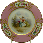 SOLD Hand-Painted Portrait and Scenic Porcelain Plate - 1840's