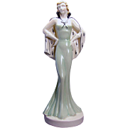 Art Deco Czechoslovakian Ceramic Woman Statue