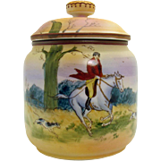 Hand-Painted Nippon Porcelain Humidor with Hunting Scene - 1920's