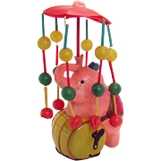 Celluloid Elephant on Barrel Carousel Wind-up Toy - Occupied Japan