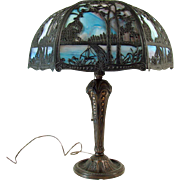 Salem Brothers Table Lamp with Filigreed Slag Glass Shade
