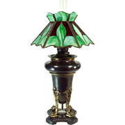 Miller Banquet Lamp with Dolphins and Leaded Glass Shade - 1880's