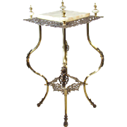 Iron and Brass Fern Stand or Lamp Table - 1890's Victorian