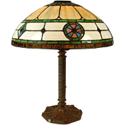 Electric Table Lamp with Pinwheel and Diamond Leaded Glass Shade - 1920's