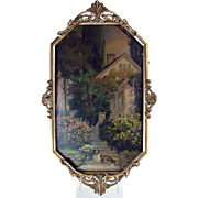 Framed Lithograph with Saint Bernard and Cottage Scene with Convex Glass - 1920's