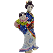 Japanese Porcelain Geisha Wall Pocket with Baby