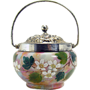 Enameled End-of-the-day Art Glass Condiment with Silver Plated Handle - 1890's
