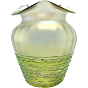 Iridescent Art Glass Vase with Threaded Base - 1920
