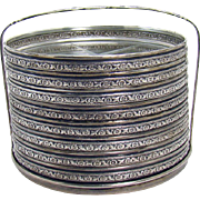 Sterling and Cut Glass Coaster Set with Stand - Eight Pieces