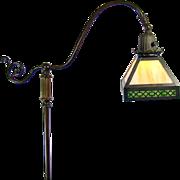 Arts & Crafts Handel Bronze Floor Lamp with Green Slag Glass Shade - 1920's