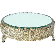 Victorian Silver Plated Beveled Glass Plateau - 1880's