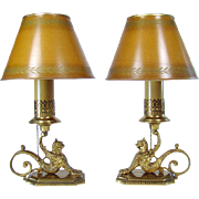 Pair of Signed Handel Electric Boudoir Lamps with Griffins (Rare)