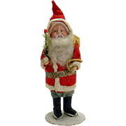 Santa Claus Figure in Felt Suit with Feather Tree Sprig