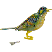 German Tin Chirping Bird Wind-up Toy - 1930's